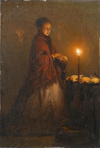 Petrus van Schendel (Belgian 1806-1870) Selling game at the Groenmarkt in The Hague