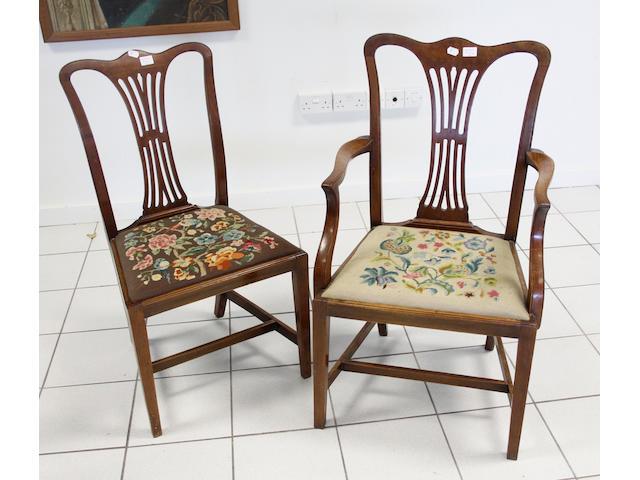 Set of twelve George III-style mahogany dining chairs
