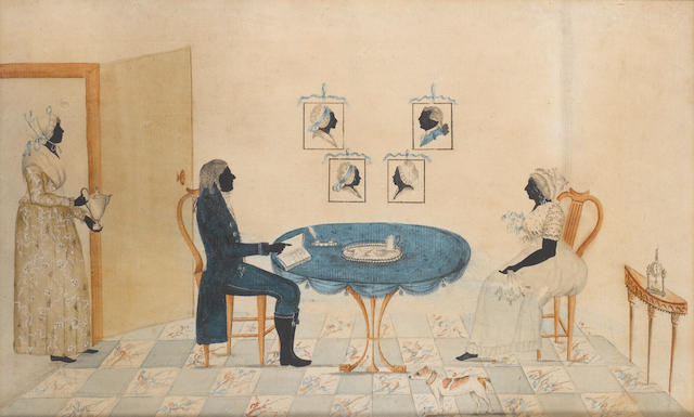 English School, circa 1785 A Silhouette conversation piece of a husband and wife seated at a table, he, wearing blue suit, his hand pointing to an open book; she, wearing white dress with floral corsage; a maid at the door carrying a coffee pot; a small white and tan dog in the foreground