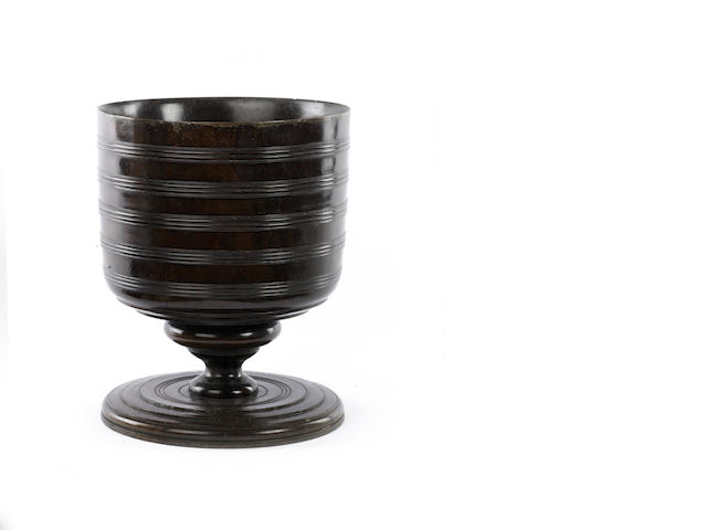 A large 17th century lignum vitae turned Wassail Cup