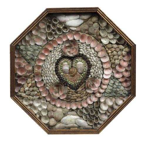 A 19th century mahogany cased Sailor's Shell Work Valentine