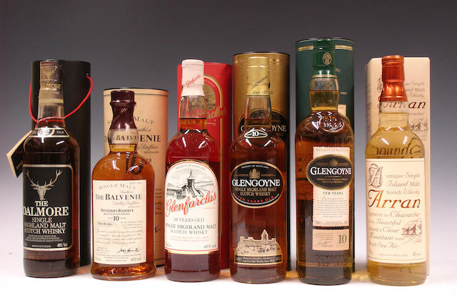 The Dalmore-12 year oldThe Balvenie Founders Reserve-10 year oldGlenfarclas-10 year oldGlengoyne-10 year old (2)Arran