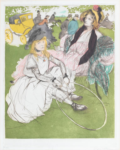 Jacques Villon (French, 1875-1963) Autre Temps Drypoint and aquatint, 1904, printed in colours, with additional hand colouring, on wove, signed and numbered 44/50 in pencil, published by Editions Sagot, Paris, with their blindstamp, 447 x 353mm (17 1/2 x 13 5/6in)(PL)