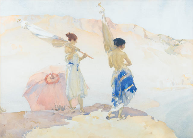 Sir William Russell Flint R.A., P.R.W.S. (British, 1880-1969) The Tent Bearers 55.5 x 77.5 cm. (21 3/4 x 30 1/2 in.)