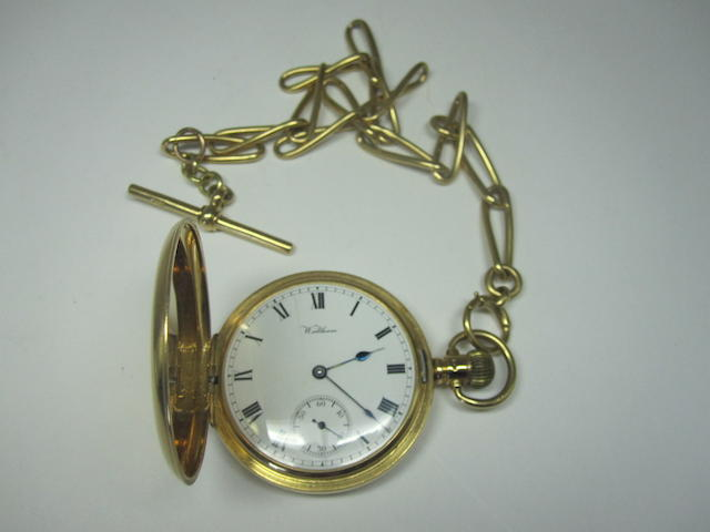 An 18ct gold Hunter pocket watch, by Waltham,