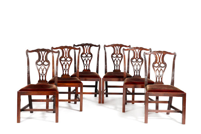 A matched set of twelve George III mahogany dining chairs