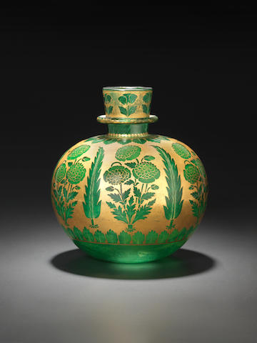 A rare intact Mughal gilt-decorated glass Huqqa Base India, first half of 18th Century