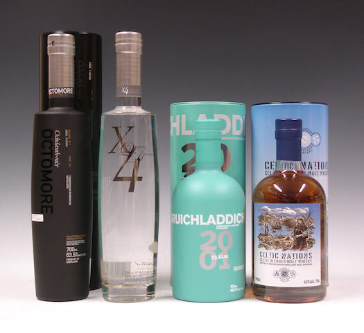 Bruichladdich Octomore-5 year old  Bruichladdich X4  Bruichladdich-2001  Bruichladdich Celtic Nations