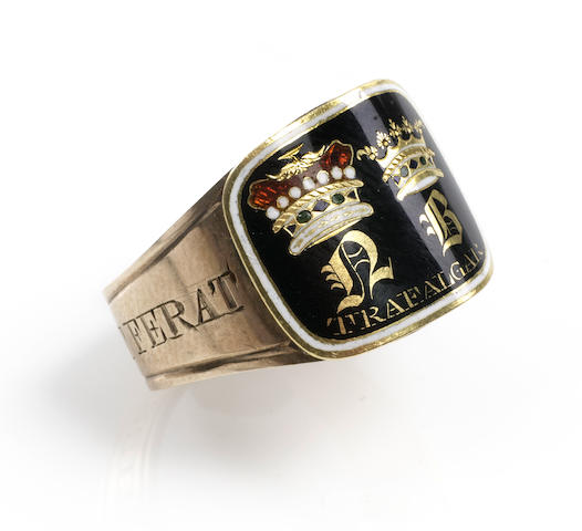 A George lll Gold and enamel mourning ring, Admiral Lord Nelson