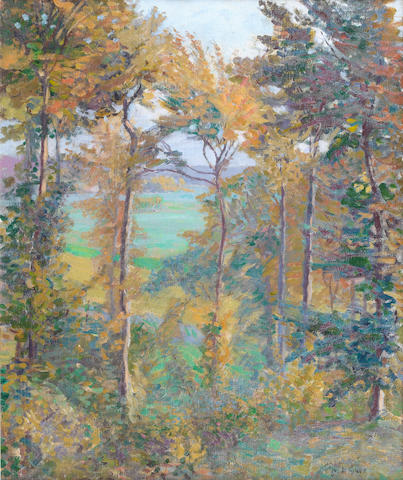 Spencer Gore (British, 1878-1914) Wooded Landscape at Tibermont, Neuvilles Les Dieppes, 1906 55 x 45.5cm. (21 3/4 x 18 in.)