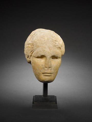 A Greek pentelic marble female head