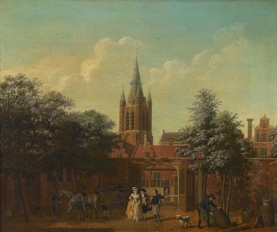 Isaac Ouwater (Amsterdam 1748-1793) A courtyard in Delft with the Oude Kerk beyond  43.5 x 49.3cm (17 1/8 x 19 7/16in).