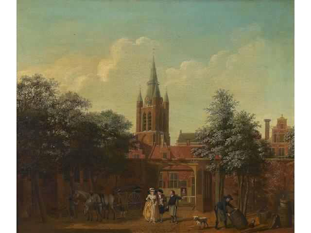 Isaac Ouwater (Amsterdam 1748-1793) A courtyard in Delft with the Oude Kerk beyond
