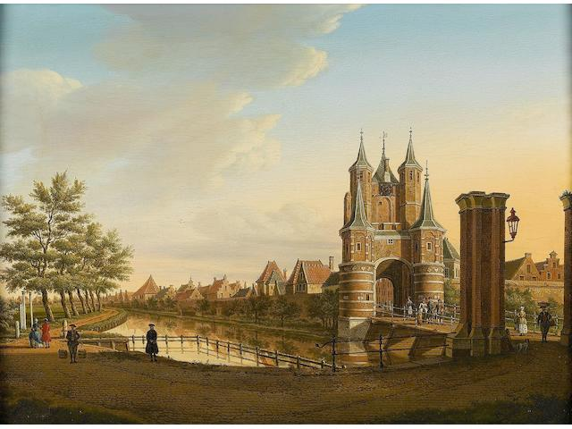 Paulus Constantijn la Fargue (The Hague 1729-1782 Leiden) The Amsterdamse Poort, Haarlem  32.8 x 45.3cm (12 15/16 x 17 13/16in).