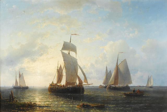 Abraham Hulk (Dutch, 1813-1897) Shipping at sunset 36 x 54cm (14 3/16 x 21 1/4in).