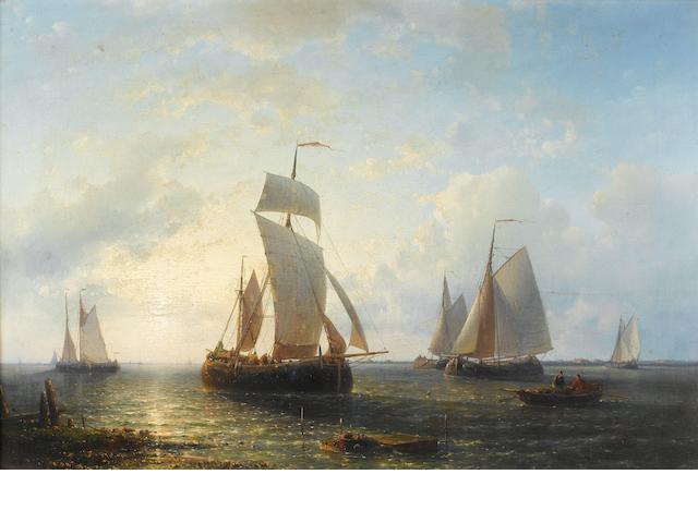 Abraham Hulk (Dutch, 1813-1897) Shipping at sunset 36 x 54cm (14 3/16 x 21 1/4in).
