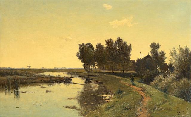 Paul Joseph Constantin Gabriël (Dutch, 1828-1903) Walking along a Dutch canal