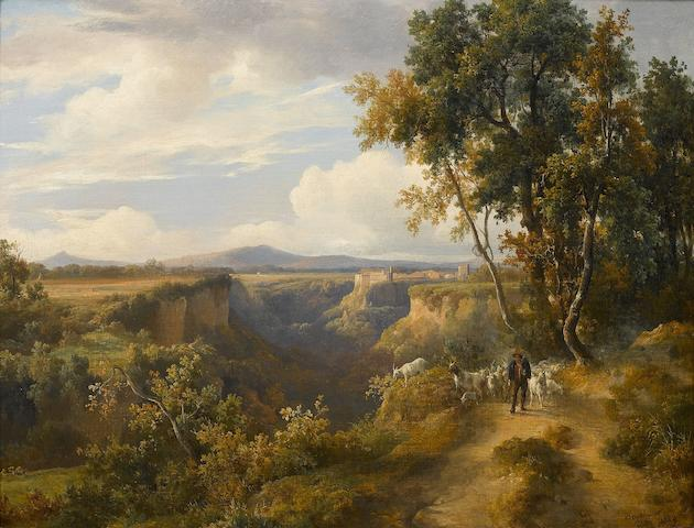 Jacques Raymond Brascassat (French, 1804-1867) A goatherder and his flock in an Italianate landscape, possibly Faleria 38 x 47cm (14 15/16 x 18 1/2in).