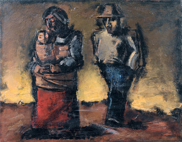 Josef Herman R.A. (British, 1911-2000) Figures At Nightfall 51 x 65.5 cm. (20 x 25 3/4 in.)