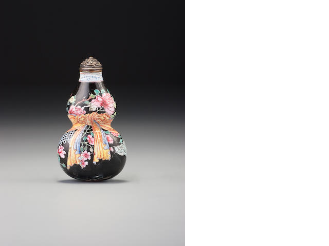 Black ground Guangzhou enamel on metal double gourd.  Yongzheng mark.