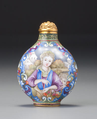 Palace enamel on metal with European ladies in blue palette.  Qianlong mark