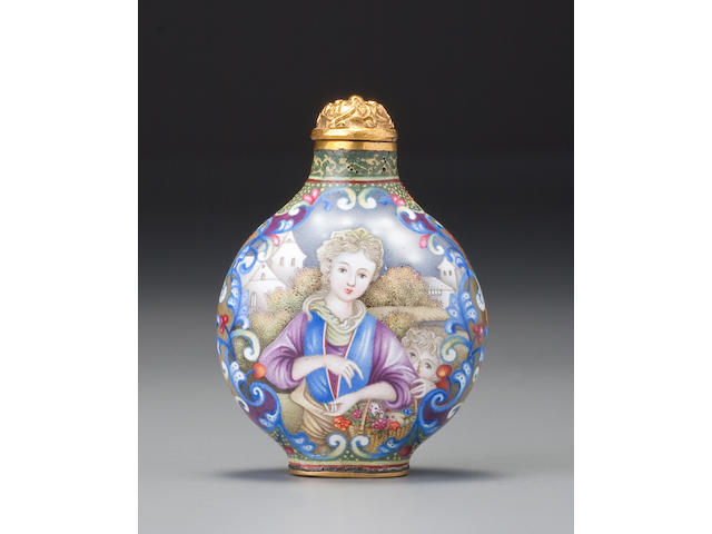 A Beijing enamel European-subject snuff bottle Imperial, palace workshops, 1736–1760, Qianlong blue-enamel mark and of the period