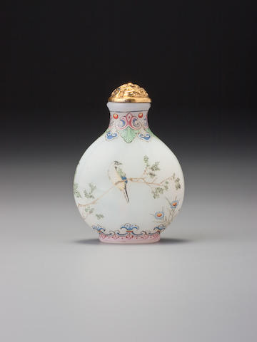 A 'famille-rose'-enamelled glass 'bird on branch' snuff bottle Imperial, palace workshops, Qianlong blue-enamel mark and of the period, 1736–1760