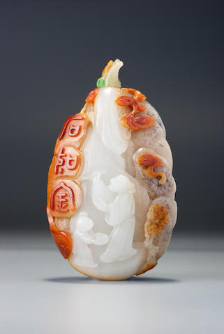 An inscribed nephrite pebble-material snuff bottle Zhiting School, Suzhou, 1740–1840