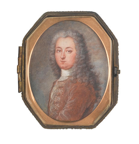 Perpète Evrard (Eùrard) (Belgian, 1662-1727) A Gentleman, wearing brown coat with white embroidery, cravat and stock, his powdered wig worn long and curled