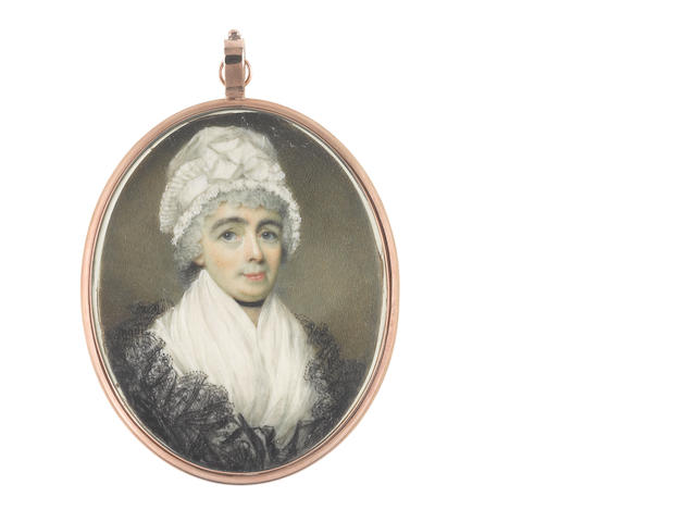 George Place (Irish, died 1805) A Lady, wearing white fichu, black lace shawl, ribbon choker and white bonnet trimmed with pleated lace border tied with wide ribbon