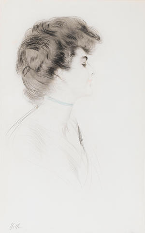 Paul César Helleu (French, 1859-1927) The Blue Ribbon Drypoint, printed in blue and black, on wove, signed in pencil, with the Estampes Cercle Librairie blindstamp, 543 x 337mm (21 1/3 x 13 1/4in)(PL)