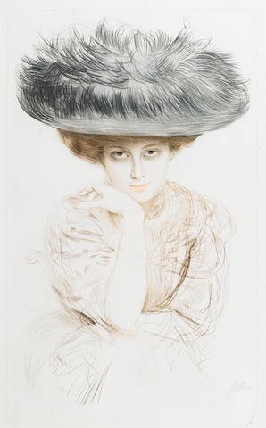 Paul César Helleu (French, 1859-1927) Portrait of a young lady wearing a feathered hat Drypoint, printed in colours, on wove, with the Estampes Cercle Librairie blindstamp, signed in pencil, with a pencil initial 'F' lower right, 575 x 350mm (22 2/3 x 13 3/4in )(PL)