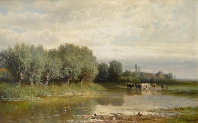 Hendrik Dirk van Elten (Dutch, 1829-1904) River landscape with cattle watering