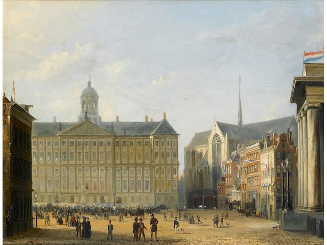 Pierre (Henri Théodore) Tetar van Elven (Dutch, 1828-1908) King William III of the Netherlands saluting the crowd from the Royal Palace, Amsterdam 38 x 51.5cm (14 15/16 x 20 1/4in).
