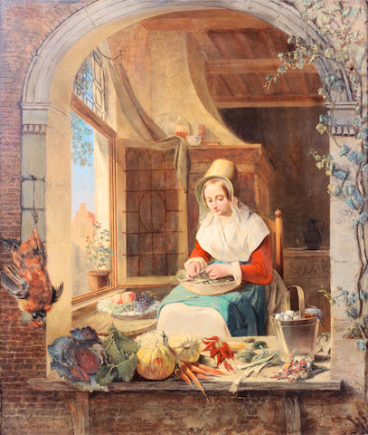 Alexis van Hamme (Belgian, 1818-1875) A young lady shelling peas in a niche