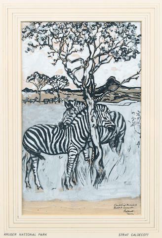 Harry Stratford Caldecott (South African, 1886-1929) Zebras grazing in the Kruger