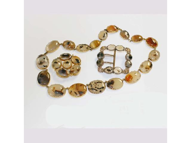 A collection of moss agate jewellery