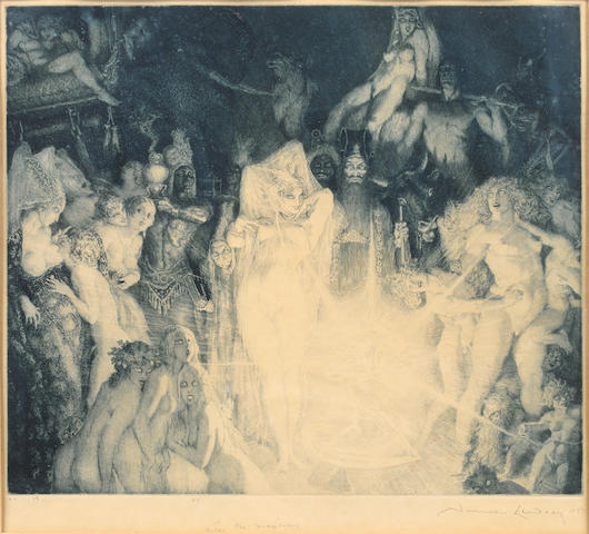Norman Alfred Williams Lindsay (Australian, 1879-1969) Enter the Magicians Etching, 1927, on japan, signed, dated, titled and inscribed 'No.18' and '55'  in pencil, 304 x 355mm (12 x 14in)(PL)