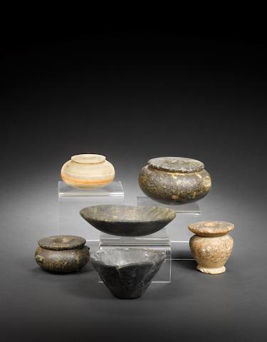 6x large Egyptian stone pots. (6)