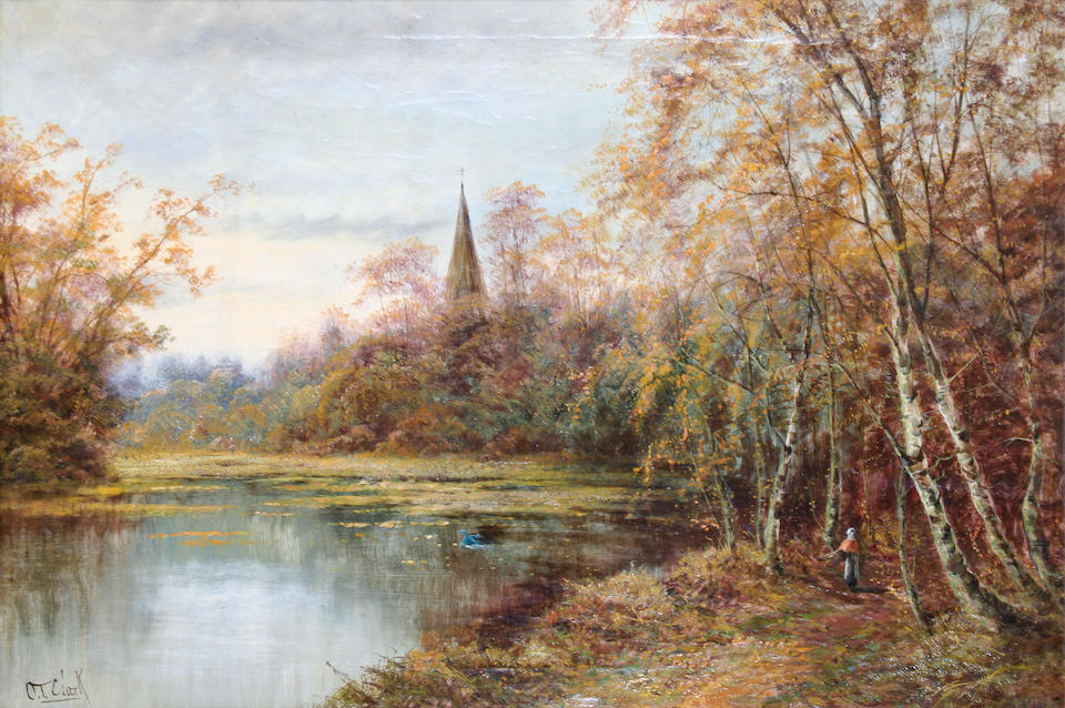 Octavius T. Clark (British, 1850-1921) 'River Avon, Spring', and 'Salisbury Cathedral, River Avon, Autumn', a pair,
