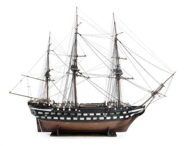 "A large contemporary model of HMS ""Vengeance"" 1824 91.5x31x85.7in(233x79x218cm) Model 72x22x54in(183x56x137cm)"