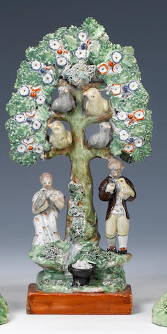 An unusual Staffordshire nesting bird group circa 1820