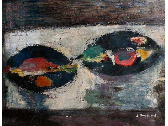 Jacob Bornfriend (Czech, 1904-1975) Still life with plates and fish
