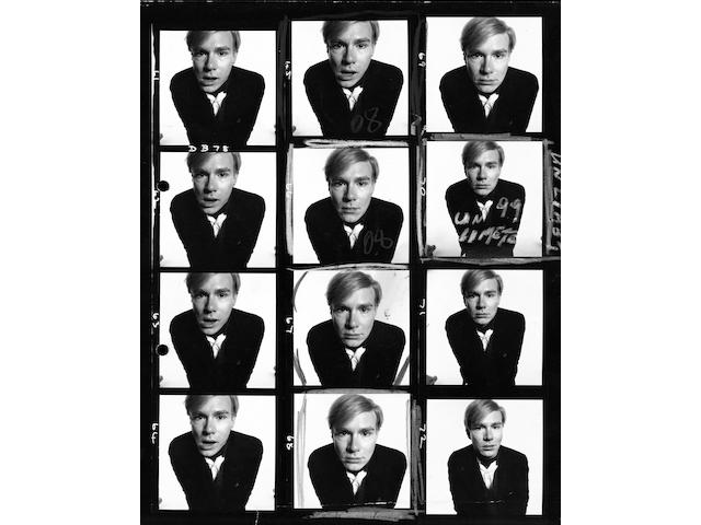 Andy Warhol, 1965. C-type print, contact sheet. Printed 2009. Edition of 10.