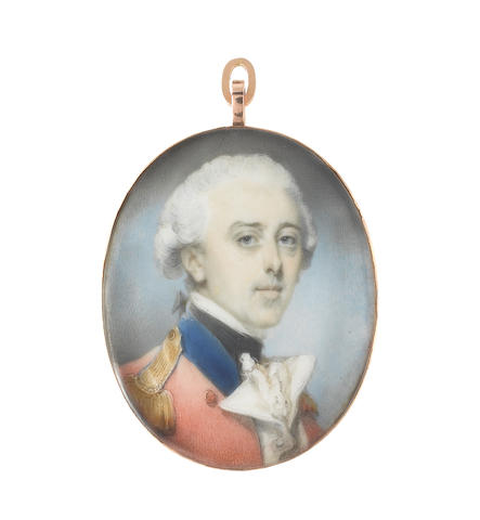 Jeremiah Meyer, RA (British, 1735-1789) An Officer, wearing uniform of red coat, blue collar, gold epaulettes, white waistcoat, chemise and black stock, his powdered wig worn  en queue  with a black ribbon bow