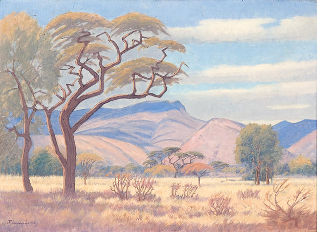Jacob Hendrik Pierneef (South African, 1886-1957) Veld landscape, Rustenberg
