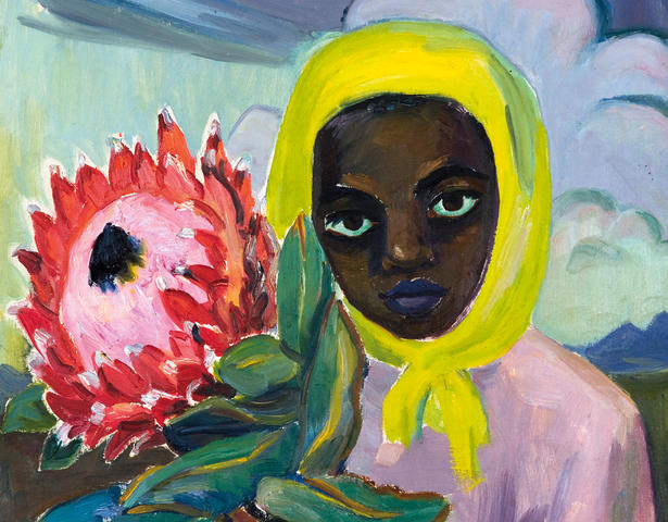 Maggie (Maria Magdalena) Laubser (South African, 1886-1973) Young girl with head scarf holding a protea