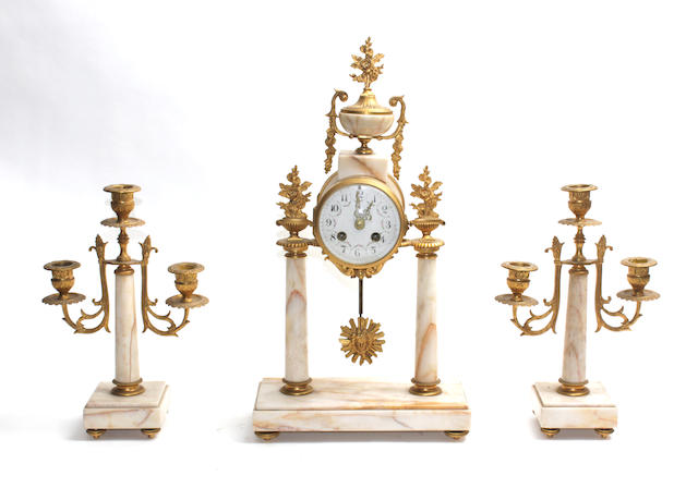 A 20th century gilt brass mounted and marble clock garniture 3