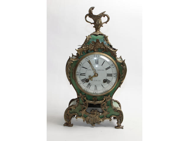 A Louis XV style gilt brass and green stained tortoiseshell bracket clock and bracket 2