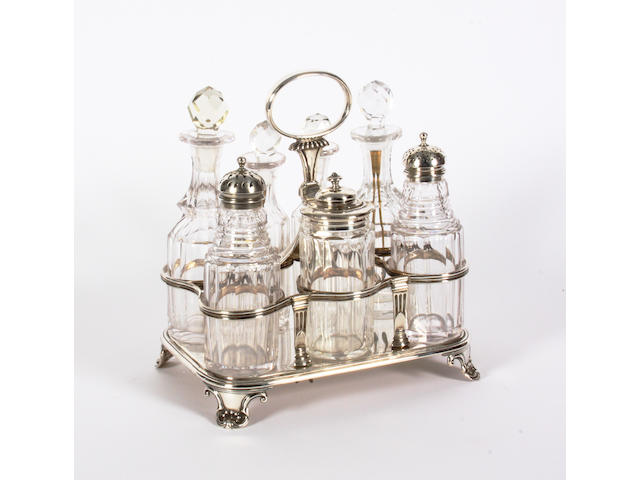 A George IV silver cruet stand By Emes and Barnard, London, 1825,